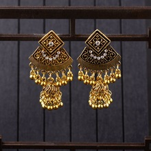 TopHanqi Boho Indian Jhumka Long Small Bell Drop Tassel Earring For Women Gold Flower Carved Alloy Dangle Earrings Gypsy Jewelry