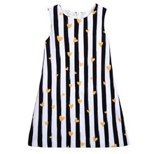 Striped heart children's clothing summer big children dress girls dress age from 3-6T
