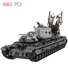 hot LegoINGlys military WW2 war weapon army KV-2 Heavy tank missile car Building Blocks model moc bricks toys for children gift