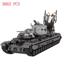 hot LegoINGlys military WW2 war weapon army KV 2 Heavy tank missile car Building Blocks model moc bricks toys for children gift