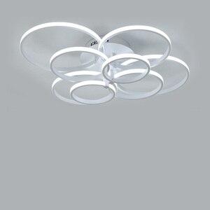 Image 3 - Lustres modernos luzes led luminárias de jantar para casa interior preto anéis sala estar quarto lâmpadas com controle remoto lustre