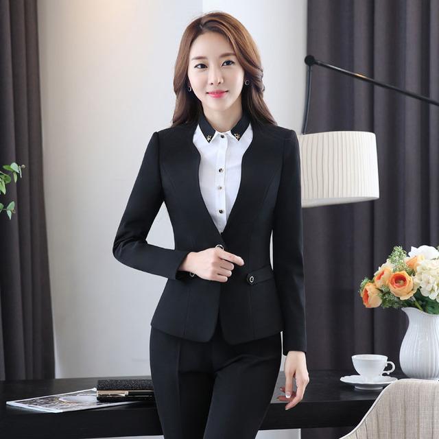 Más el Tamaño 3XL Diseño Uniforme Pantsuits Formales Con Mujeres Pantalón Ajustado Señoras Blazers Chaquetas Y Pantalones de Negocios Profesional