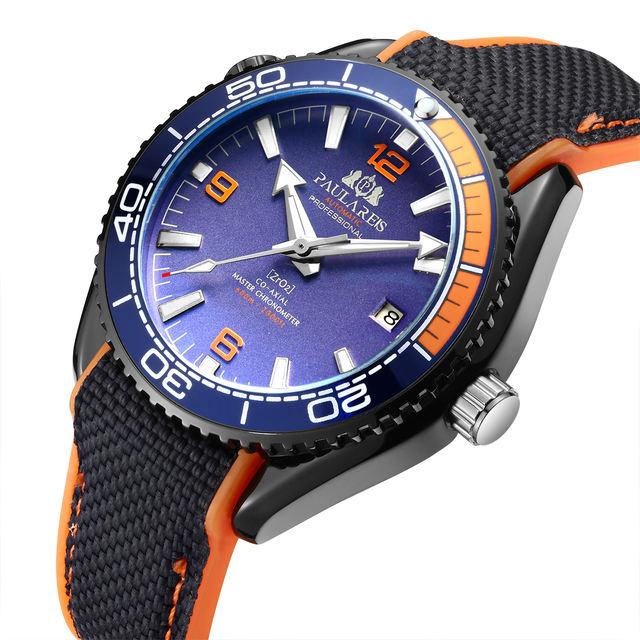 Men Automatic Self Wind Mechanical Canvas Rubber Strap James Bond 007 Style Orange Blue Red Rotatable Bezel Classic Watch