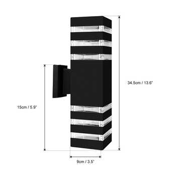 Waterproof Up Down Aluminum Cuboid LED Wall Light Fixtures Dual Head Wall Lamp Outdoor Socket AC 85-240V for Courtyard Garden