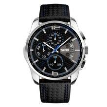 2016 Skmei Top Marque De Luxe Montres Hommes Sport Quartz Date Horloge Hommes Chronographe Casual En Cuir Armée Militaire Montre À Quartz-montre
