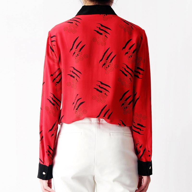 Office Rouge Turn Chemisier Soie Femmes 2019 Chemises 100 Poitrine blanc Travail Down Lady Printemps Unique De Longues Collar Nouvelles D'été Imprimer Manches WABBnRZzx