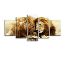5 pieces high-definition print Animals Lion Group canvas painting poster and wall art living room picture B-053