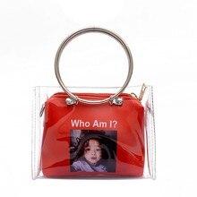 ФОТО fengfu new fashion woman rock bag circle handle soft transparent jelly letter character print shoulder bags