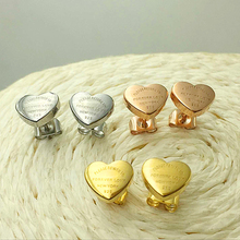 Luxury Famous Brand Stainless Steel Jewelry Design Peach Heart Stud Earring For Women Gold