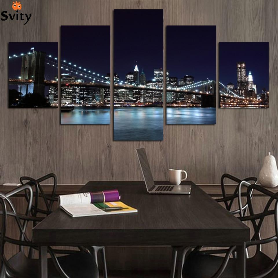 프레임 없음 5 개 현대 풍경 홈 장식 유화 캔버스 벽 예술 아름다운 도시 야경 도매
