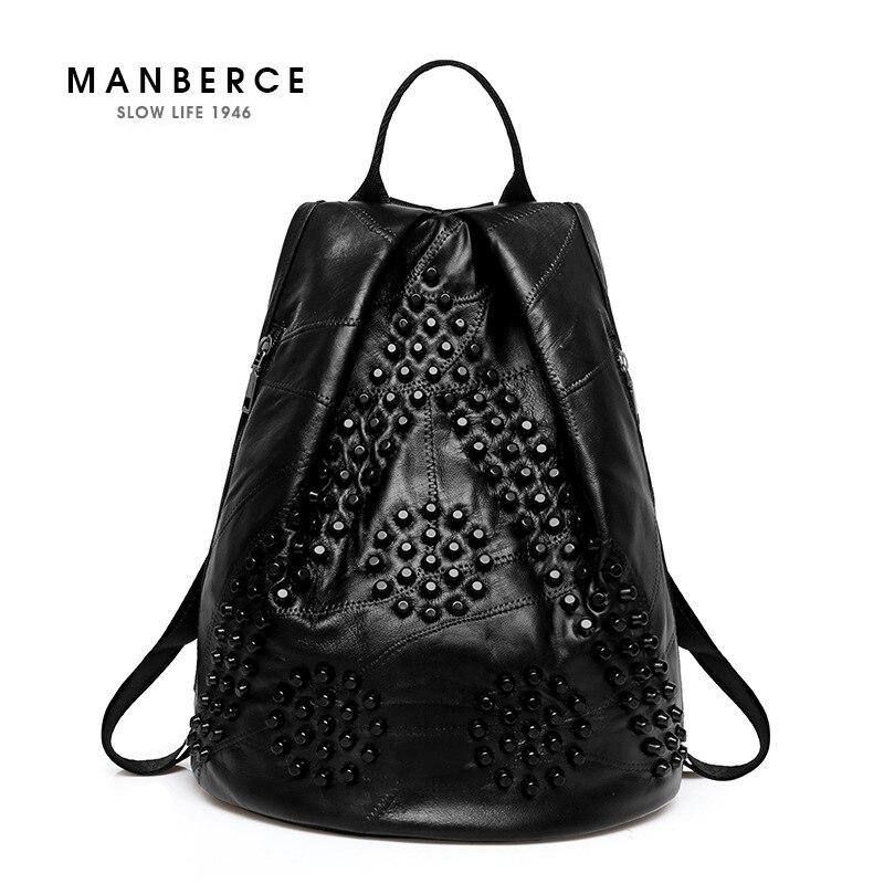 Genuine Leather Backpack Bags For Women Waterproof Unique Black Rivet Kanken Backpacks Girl School Bag Travel Shoulder Bag