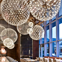 Modern led Pendant Lamps Restaurant Stainless Steel Ball Chandelier Lighting Firework Fixture for Mall Home Living Room
