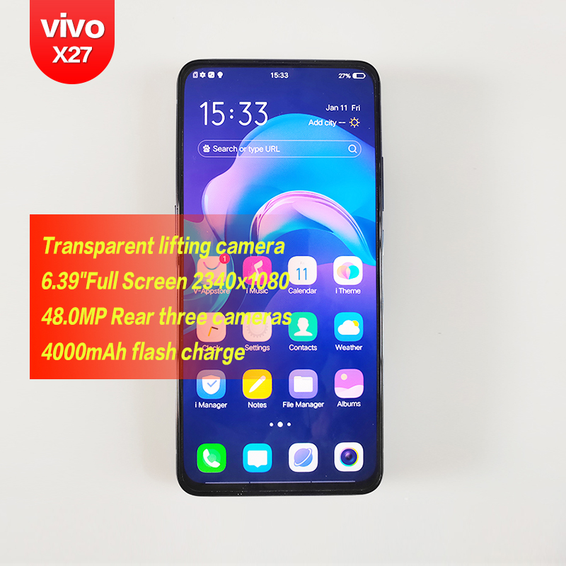 Vivo X27 Originale Android Qualcomm da 6.39 pollici FHD + Per Smartphone 2340x1080 48MP 4 telecamere Octa Core 4000 mAh HD di riconoscimento Delle Impronte Digitali