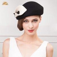 Autumn and Winter British Fashion Hat Female Woolen Hat Lady Warm Fedoras Wool Cap Girls Fashion Party Cap Warm Berets B 7549