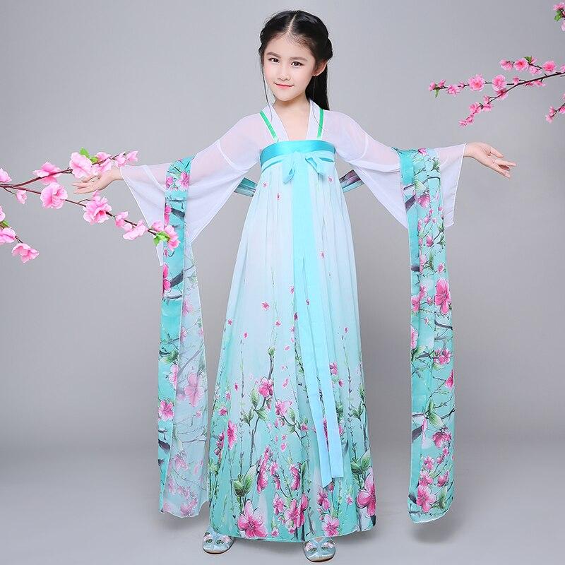 Girl's Dramaturgic Dress Chinese Traditional Dance Costumes Children Girls Hanfu Princess Ancient Chinese Dance Costum Cosplay