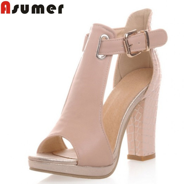 13d6b91cf3 2016 new fashion peep toe women platform pumps for women high heels buckle  strap ladies summer