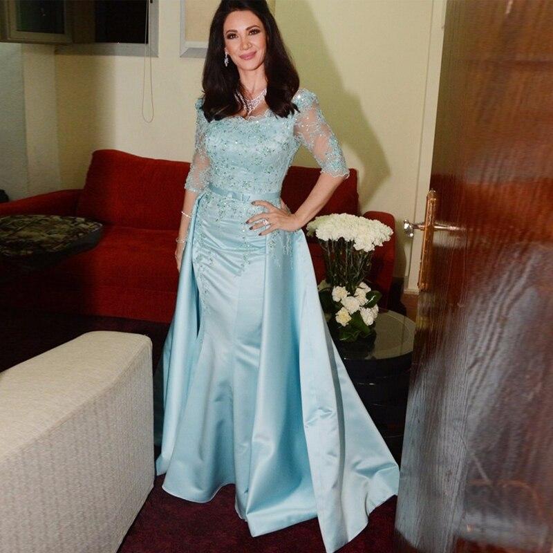 Chic Sky Blue Mermaid Mãe Da Noiva Vestidos Frisada Vestidos