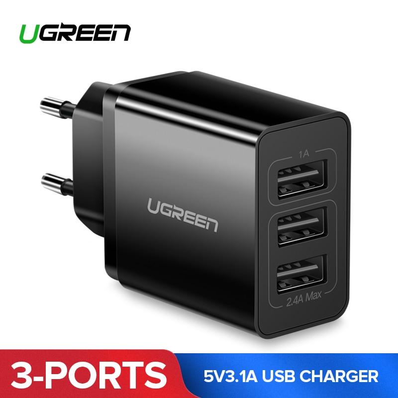 ¡Ugreen cargador USB 5V3! 1A de cargador USB de viaje para iPhone X 8 cargador de teléfono móvil Universal para Samsung Xiaomi pared cargador de teléfono