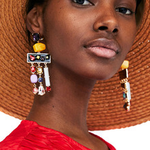 JUJIA 5 colors good quality resin beads with crystal Tassel Earrings New Statement Fringing earrings maxi cami dress with fringing black