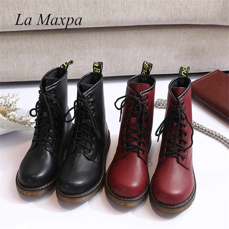 La MaxPa 2018 Leather Women Boots Martin Boots Shoes High Top Motorcycle  Autumn Winter Shoes Woman b1cc7a0fae07