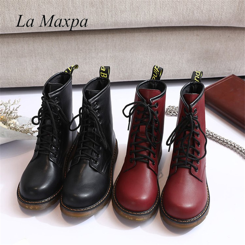 La MaxPa 2018 Leather Women Boots Martin Boots Shoes High Top Motorcycle Autumn Winter Shoes Woman Snow Lace Up Boots