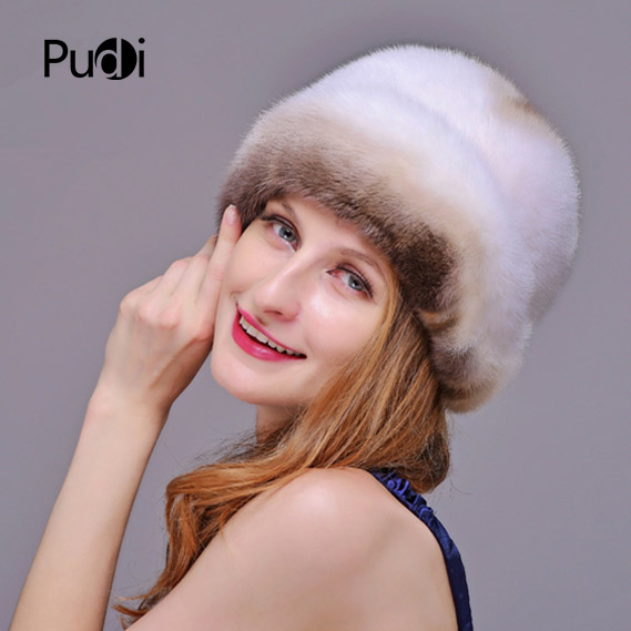 HM013 Winter hats for women Real genuine mink  fur hat  women's winter hats whole piece mink fur hats 3
