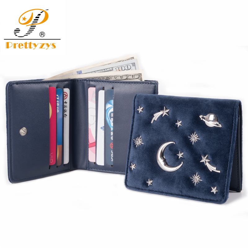 Prettyzys Women Wallet Female Slim Purse Short Small Pu Leather Change Card Holder Coins Zipper Light Star Moon Velvet dollar price women cute cat small wallet zipper wallet brand designed pu leather women coin purse female wallet card holder