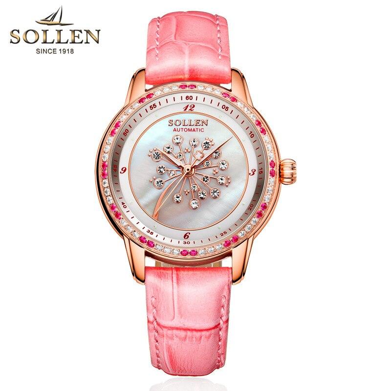 SOLLEN Moda Mulheres Relógios de Cristal de Safira À Prova D' Água Relógio Das Mulheres Senhoras Pulseira de Couro Relógio de Quartzo Top Marca de Luxo Rosa - 3