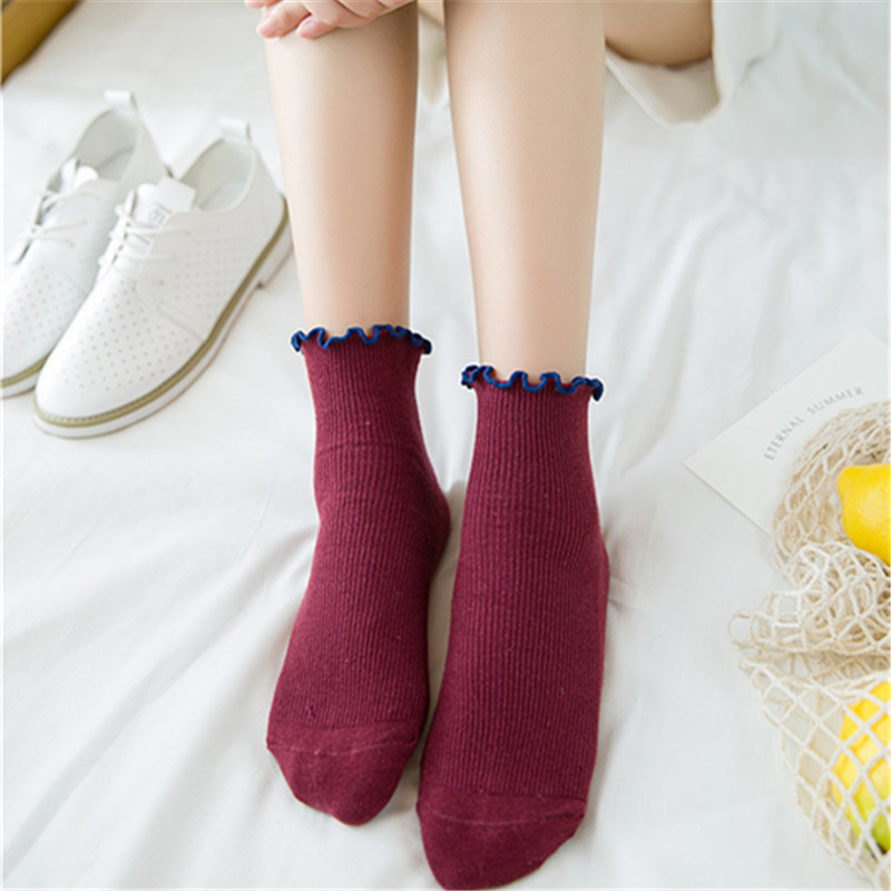 Sweet Spring Pure Color Cotton Lace Ruffles Women   Socks   Lovely Frilly Edge Princess Girls   Socks   High Quality Summer Autumn   Socks