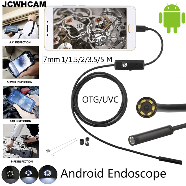 JCWHCAM Android Phone Micro USB Endoscope Camera 7mm Lens 6LED Portable OTG USB Endoscope 1M 2M 5M USB Android Phone Borescope