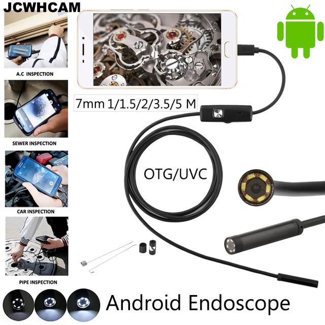 Jcwhcam 안드로이드 전화 마이크로 usb 내시경 카메라 7mm 렌즈 6led 휴대용 otg usb 내시경 1 m 2 m 5 m usb 안드로이드 전화 borescope