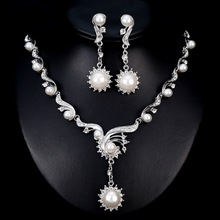 Fashion Flower Sun Imitation pearls Silver Jewelry Sets Earrings Pendant Necklace for Women Bridal Wedding Valentines Day gift