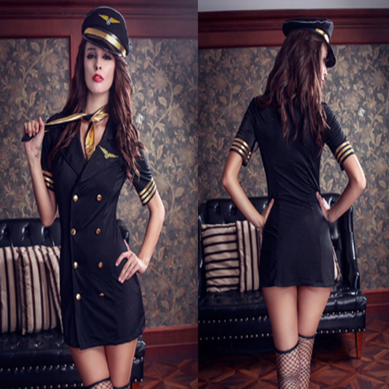 High Quality Women Stewardess Uniform Costume Fashion Short Double Breasted Tight Costume With A Hat Scarf For Cosplay Party
