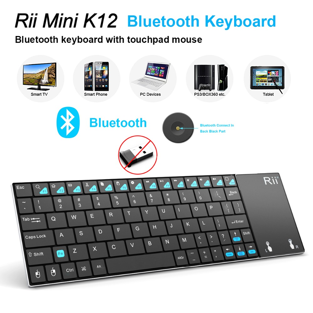 Hot selling Rii mini K12BT Brand New Utra Mini Wireless English Russian Bluetooth Keyboard Mouse Touchpad For Windows Android PC