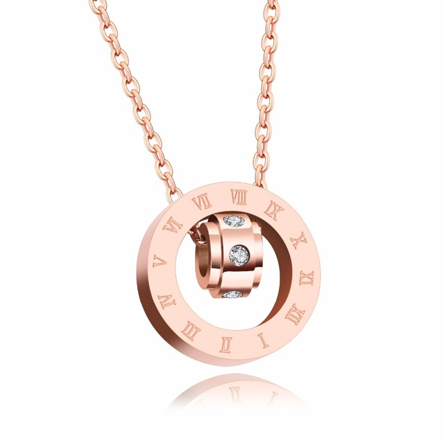 Delicate Collarbone Necklace Rose Gold Color Stainless Steel Pendant