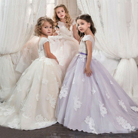 First Communion Dresses For Girls Ivory Purple Pink Ball Gown Lace Floor Length Flower Girl Dress