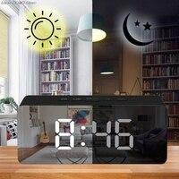 미러 알람 시계 데스크탑 디지털 LED 디스플레이 배터리 작동 휴대용 다기능 타이머 조절 lumin|탁상 시계|홈 & 가든 -