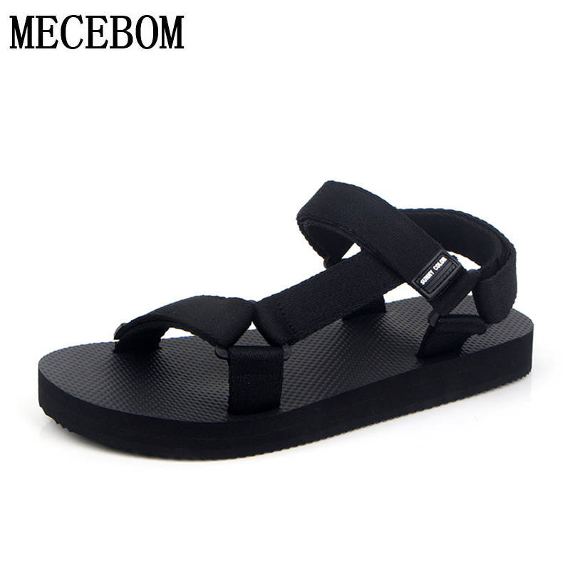 New summer fashion Mens casual sandals rome style hook-loop flats shoes black eva sandals zapatos size 38-44 066m