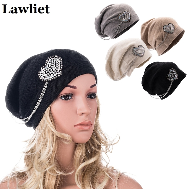 New Arrival Women's Hat for Winter Spring Nice Cashmere Female Beanies with Heart Rhinestone New Brand Knitted bonnet femme Cap