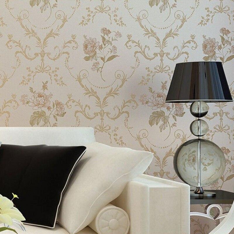 Beibehang papier peint pastorale douce damas damassé Floral luxe papier peint rouleau chambre décoration murale Papel De Paredes Para Sala - 4