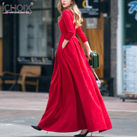 Elegant Women Vintage Maxi Dress A Line Autumn Winter 2017 New Pleated Elegant High Waist Brand