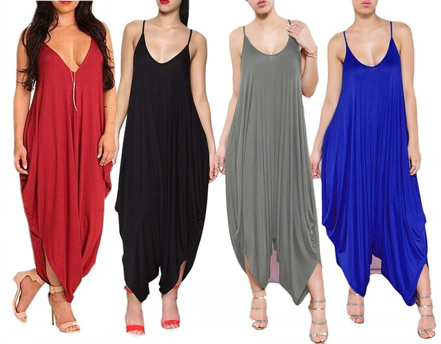 2017 New Fashion Sexy V Neck Spaghetti Straps Loose Harem Palazzo Wide Leg Summer Jumpsuit Playsuits Rompers Overalls