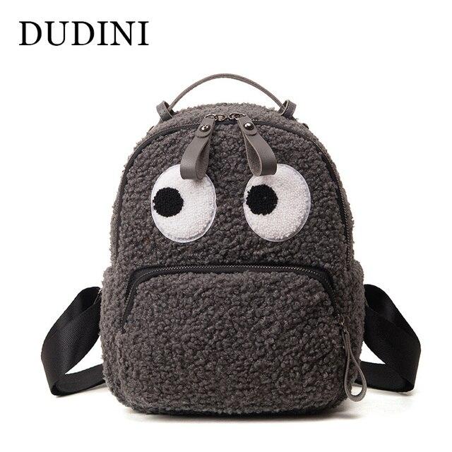 7305b24b64 DUDINI Spring New Fashion Backpack High Quality Cartoon Cute Eyes Women s  Shoulders Bag Anime Plush Student