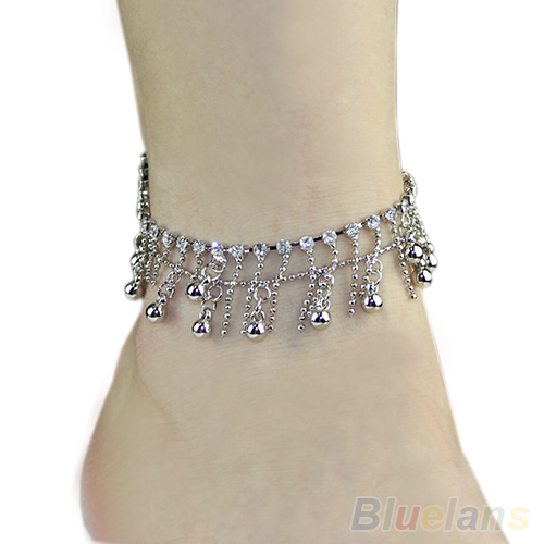 Silver Tone 2 layers Tassel Crystal font b Jewelry b font Chain Anklet Ankle Bracelet bangles