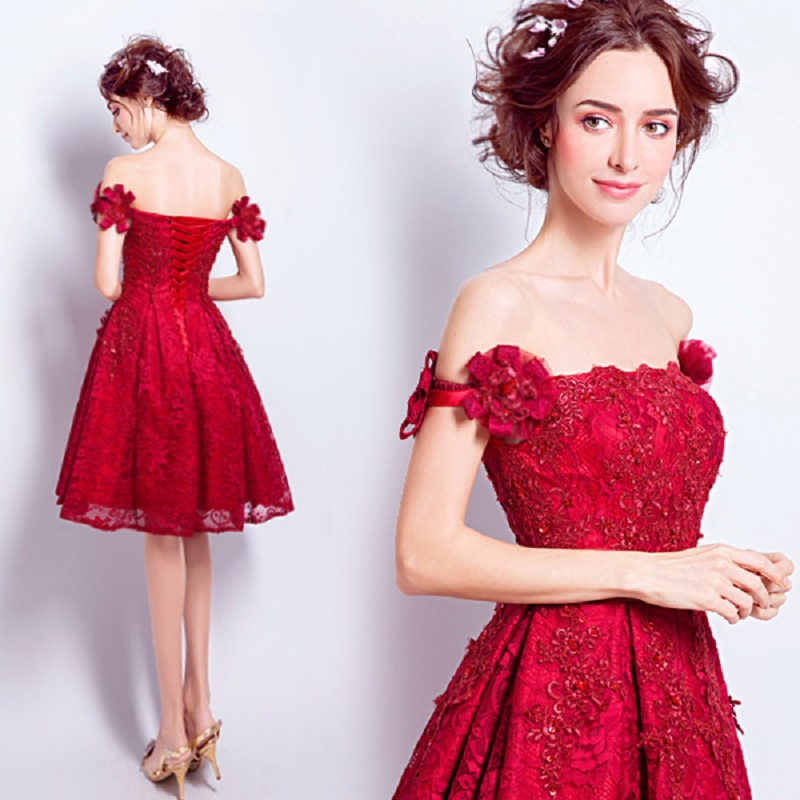 2018 new stock plus size women pregnant   bridesmaid     dresses   wedding party boat neck lace backless sexy romantic cheap red   dress