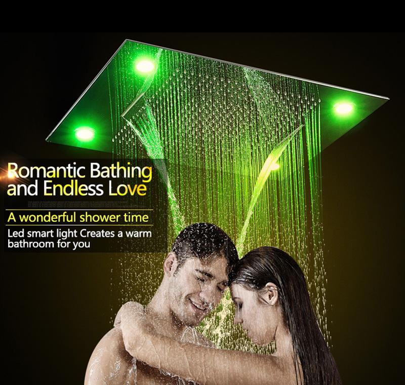 Luxurious LED Shower System Ceiling Mount Rain Head Set 31 Luxury Big Rain Shower Head Dual Rain and Waterfall Shower Sets (6)
