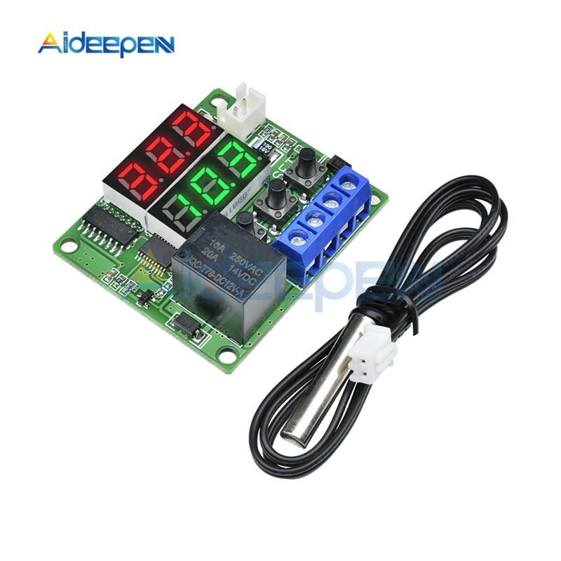 Cc 5V W1219 termostato digital LED controlador de temperatura regulador interruptor NTC Sensor módulo rojo verde pantalla LED Dual Regalo Idea despertador Digital con termómetro higrómetro humedad temperatura reloj de mesa escritorio cargador de teléfono