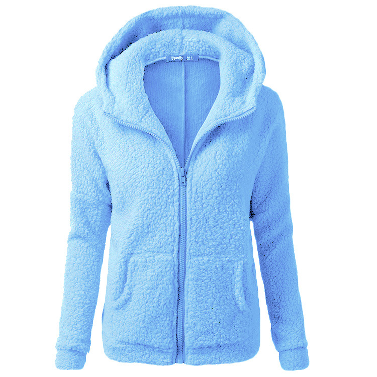 2019 Winter Sherpa Fleece Sweater Oversized 5XL Hooded Sweaters Warm Zipper Cardigan Women Winter Coat Tops Pull Femme Hiver