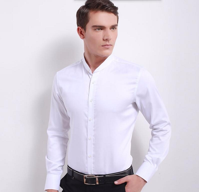 4.1New style men shirt fashion groom wedding shirt prom shirt high quality mandarin collar white formal shirt long sleeve