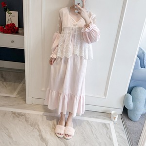 Image 2 - Girl Robe Lace Robe Set Women Princess Vintage Homewear set Sleepwear Robes Autumn